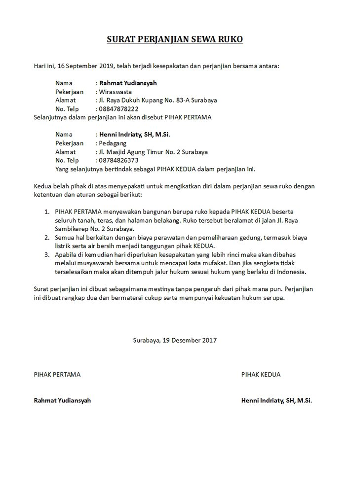 Surat Perjanjian Sewa Ruko Penting Dibuat Dilengkapi Contoh