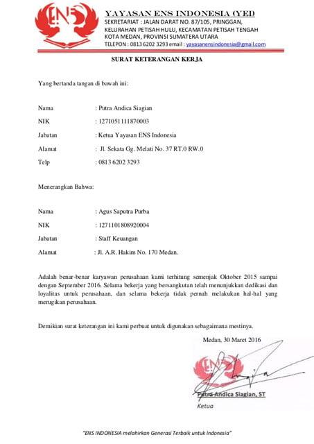 surat referensi kerja staf keuangan