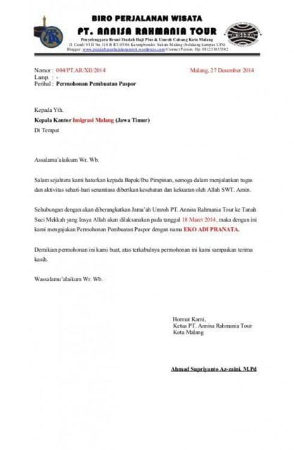 Surat Rekomendasi Membuat Pasport