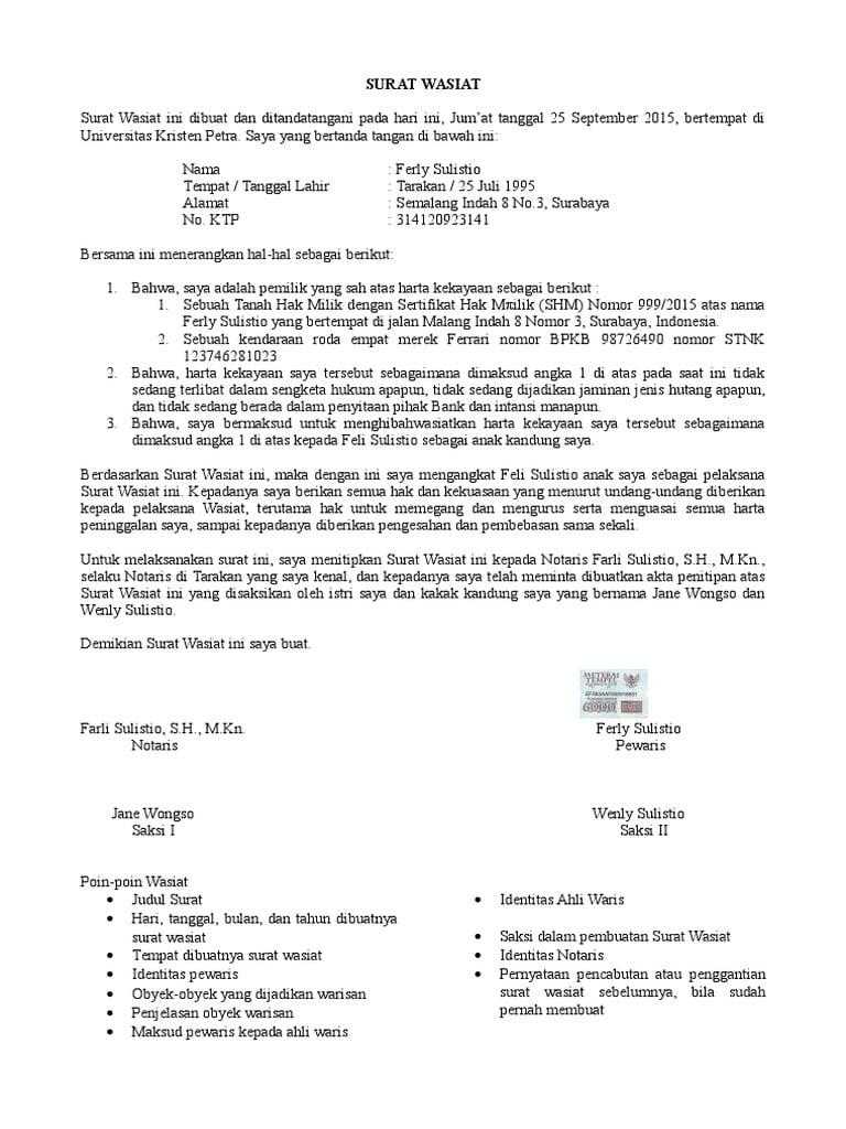 21++ Contoh surat wasiat ahli waris terbaru yang baik dan benar
