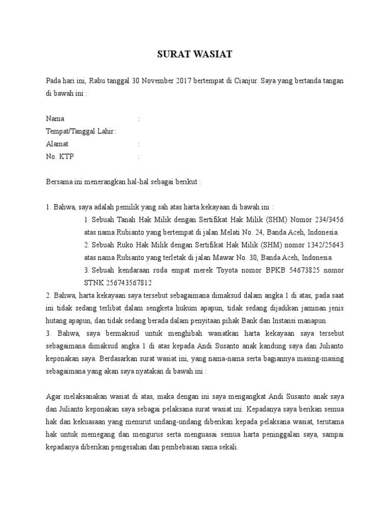 surat wasiat tanah ruko kendaraan