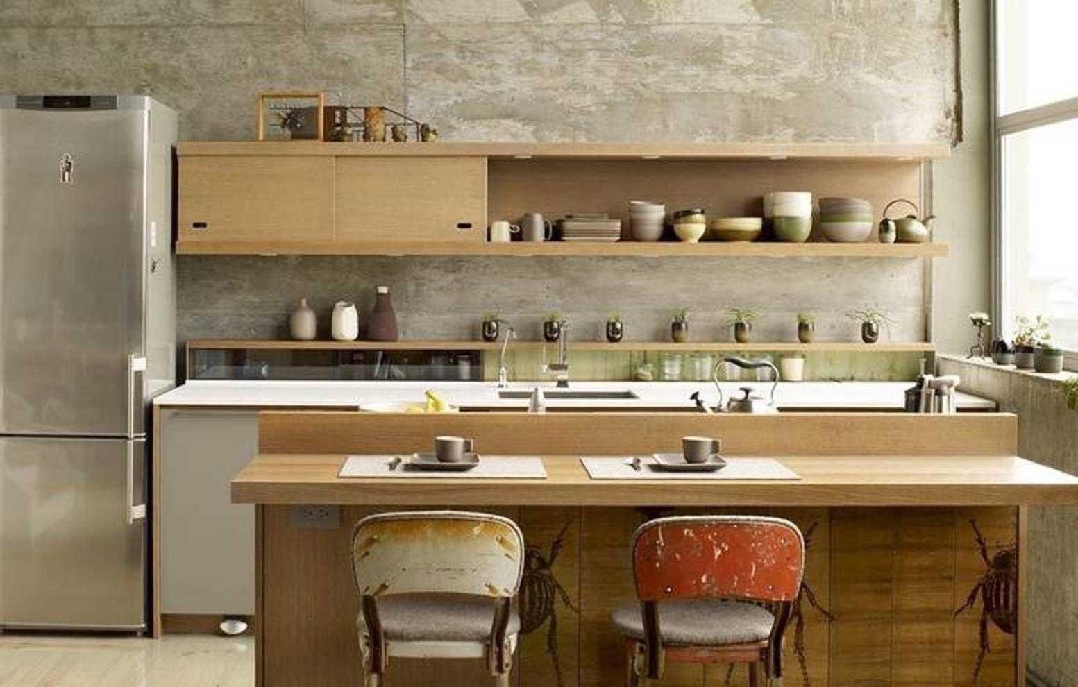 dinding dapur semen ekspos