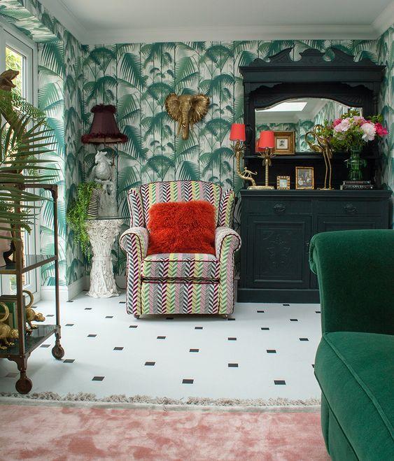 wallpaper dinding motif daun