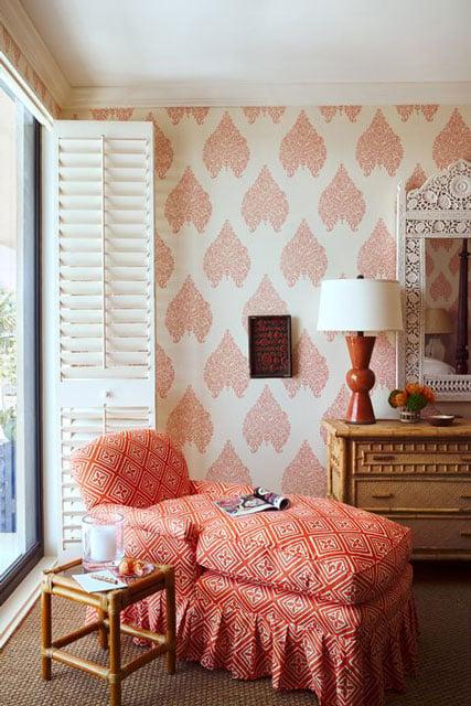 wallpaper ruang tamu pink