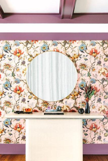 wallpaper ruang tamu bunga