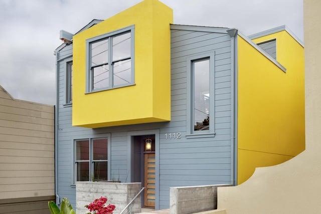 warna cat rumah bagian luar yang cerah kuning abu abu
