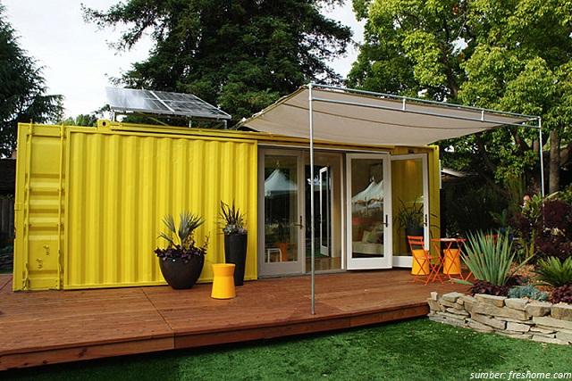 rumah kontainer warna kuning