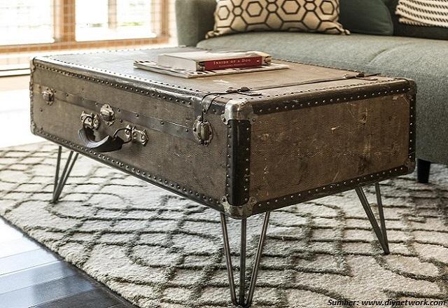 cara membuat meja kopi dari koper