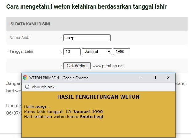 cara menghitung weton tanggal lahir